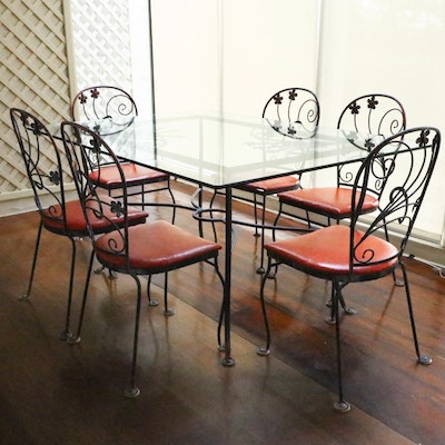 Seven-Piece Iron and Glass Top Dining Table and Chair Set, Mid-20th Century