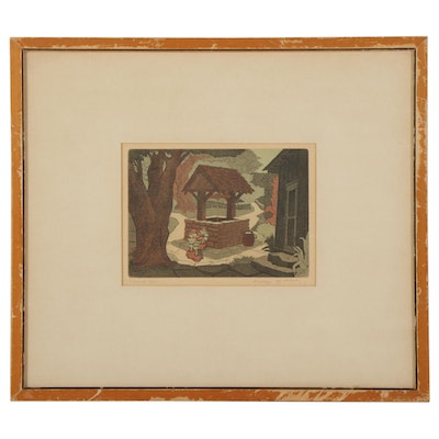 """George Jo Mess Etching With Aquatint """"Covered Well,"""" Early-Mid 20th Century"""