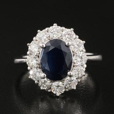 14K Sapphire and 1.02 CTW Diamond Halo Ring
