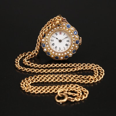 9K Sapphire and Pearl Pendant Timepiece on 14K Chain