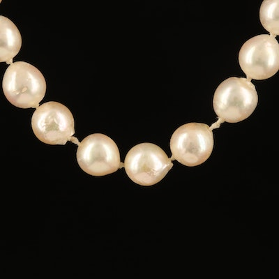 Semi-Baroque and Baroque Pearl Necklace with 14K Clasp