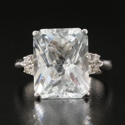 18K Aquamarine and Diamond Ring