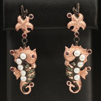 Sterling Pearl, Garnet and Peridot Seahorse Earrings