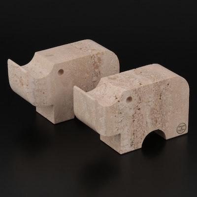 Fratelli Mannelli Carrara di Carrara Travertine Rhino Bookends, Mid/Late 20th C.