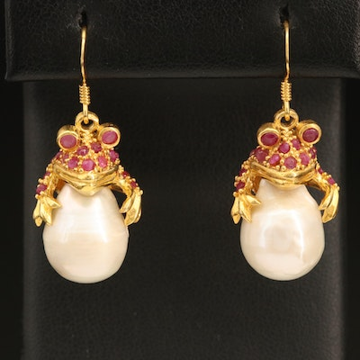 Sterling Pearl and Ruby Toad Earrings