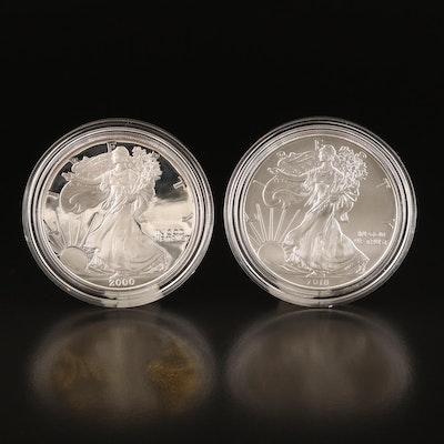 Two $1 American Silver Eagle Bullion Coins