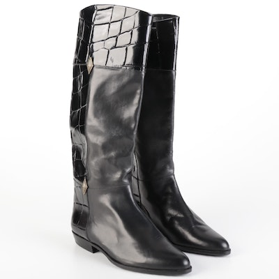 Caporicci Black Embossed and Smooth Leather Riding Style Boots