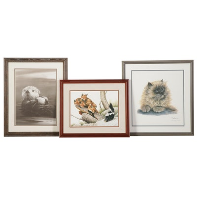"""Wildlife Offset Lithographs Featuring """"Sea Otter"""" and """"Up a Stump"""""""