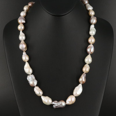 Baroque Pearl Necklace with Sterling Silver Clasp