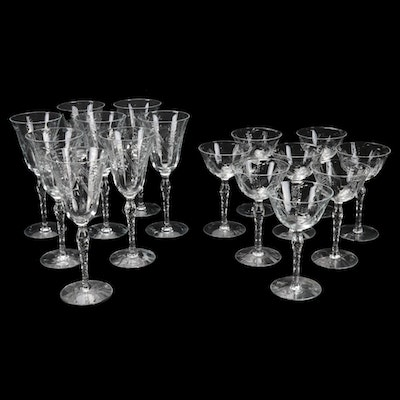 Etched Crystal Water and Wine Glasses