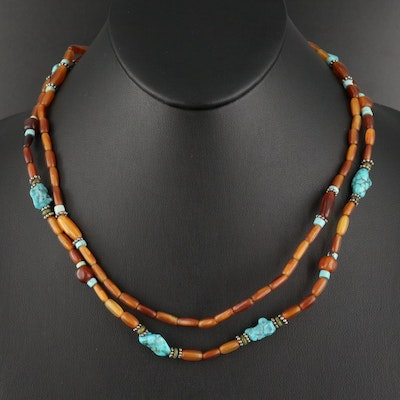 Sterling Turquoise and Resin Beaded Double Strand Necklace