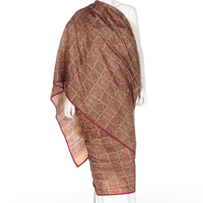 Metallic Gold Embroidered Red, Tan and Green Patterned Dupatta Saree