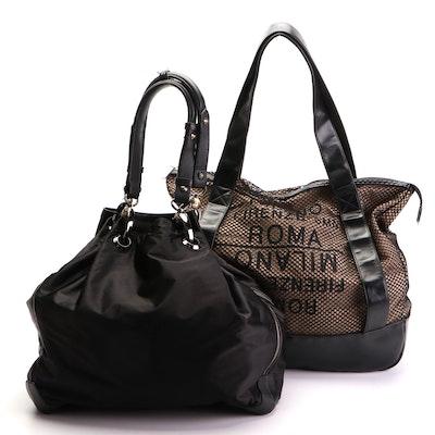 Henri Bendel Nylon and Leather Shoulder Bag with Hobo International Mesh Tote