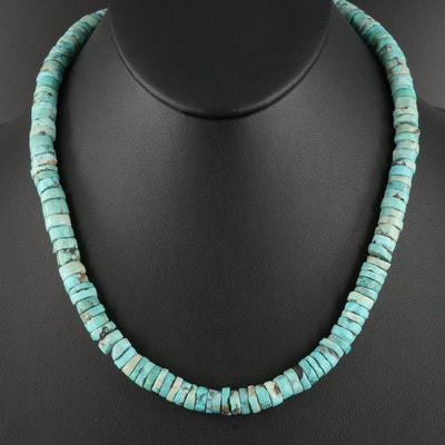 Turquoise Heishi Necklace with Sterling Clasp