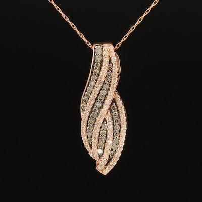 10K 0.47 CTW Diamond Slide Pendant Necklace