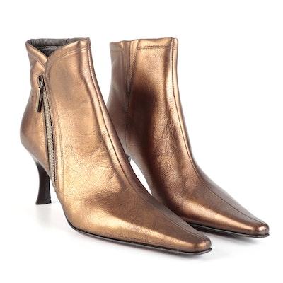 Donald J Pliner Sarra-76 Zip-Up Heeled Ankle Boots in Metallic Bronze Leather