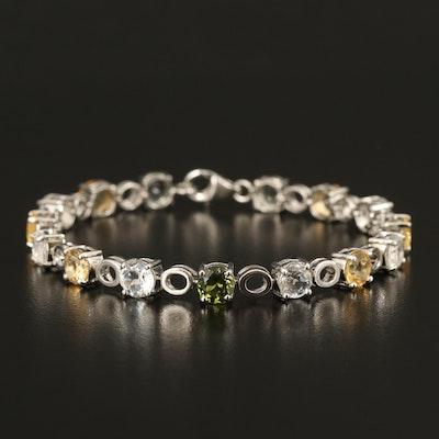 Sterling Gemstone Link Bracelet with Feldspar, Topaz and Quartz