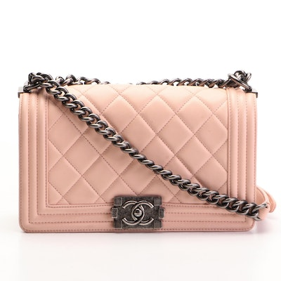Chanel Medium Boy Flap Bag in Blush Pink Quilted Lambskin Leather