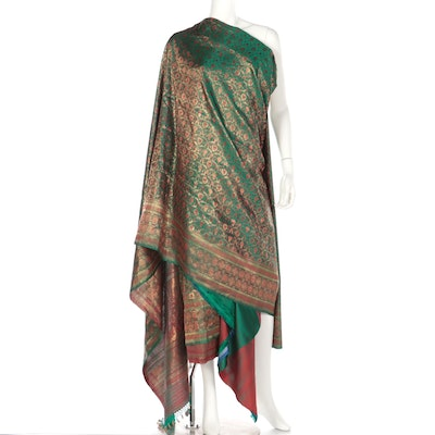 Gold Metallic and Red Embroidered Green Silk Saree