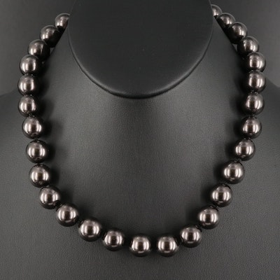 Faux Pearl Necklace with Sterling Silver Clasp