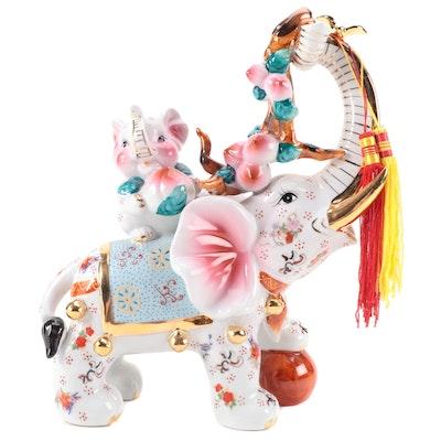 Chinese Gilt Porcelain Elephant Figurine