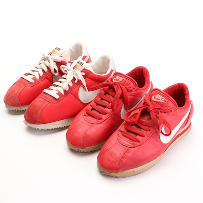 Nike Cortez Sneakers in Red, White, and Grey Nylon, Leather, and Suede