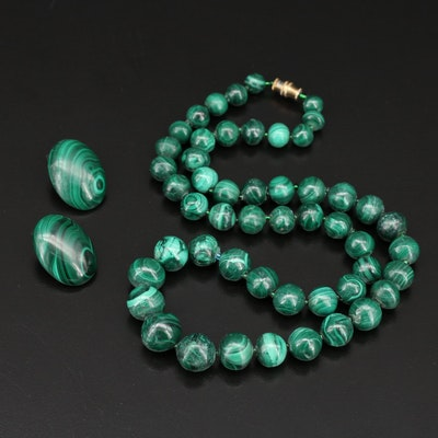 Malachite Beaded Necklace and Clip Earring Set