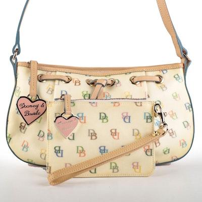 Dooney & Bourke Tassel Top Zip Shoulder Bag in Coated Canvas with Pouch