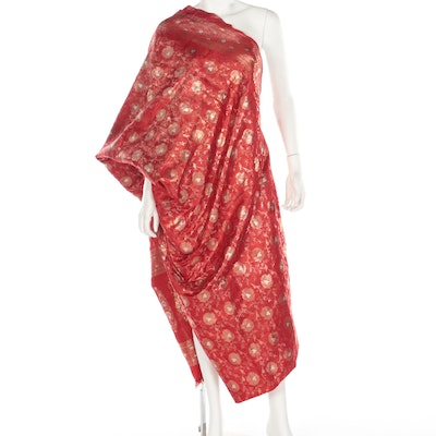 Red and Metallic Gold Embroidered Saree with Scrolling Florals