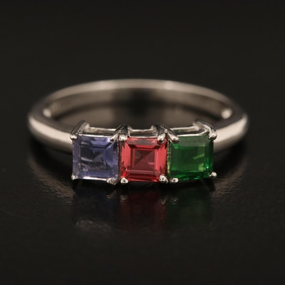 Sterling Tsavorite, Sapphire and Iolite Ring