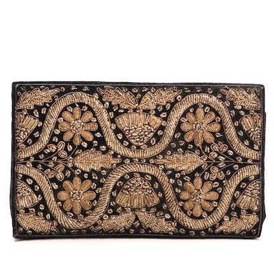 Zardozi Embroidered Black Velvet Flap Front Clutch