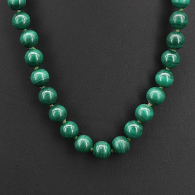 Malachite Beaded Necklace with Sterling Clasp