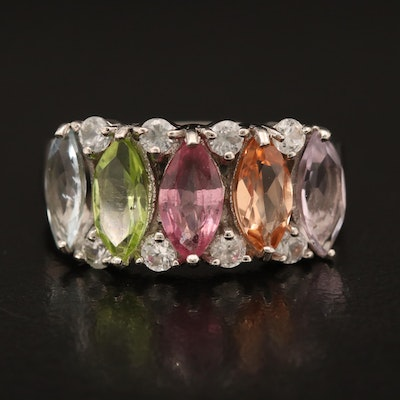 Sterling Ring Including Sapphire, Peridot and Amethyst
