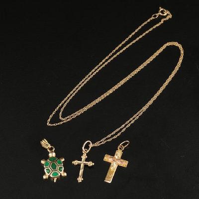 14K Turtle Pendant and 10K Cross Pendant Necklace