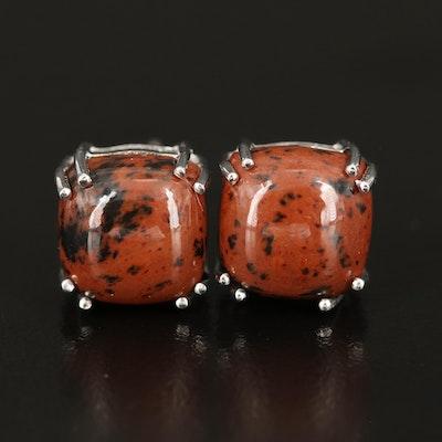 Sterling Mahogany Obsidian Stud Earrings