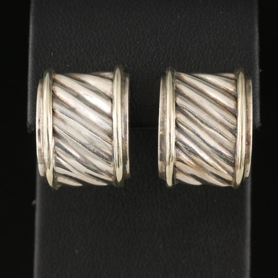David Yurman Sterling Button Earrings with 14K Accent