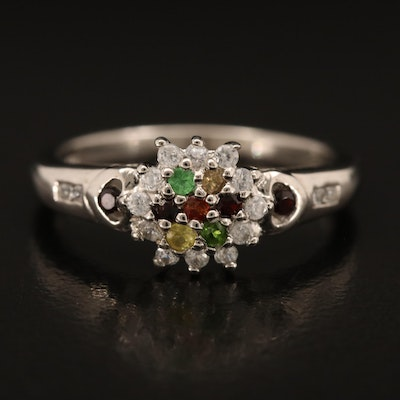 Sterling Ring Including Diopside, Zircon and Garnet