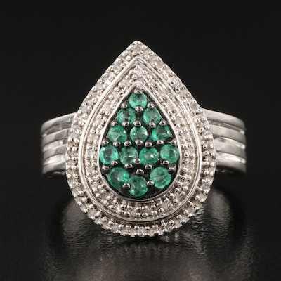 Sterling Emerald and Diamond Teardrop Ring