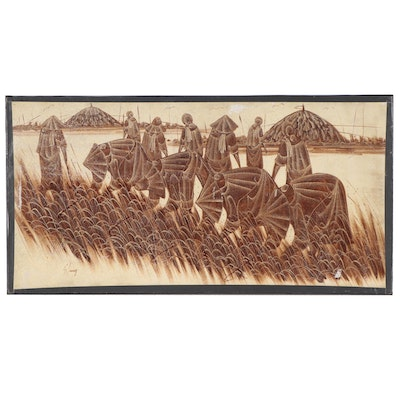 Si Lang East Asian Oil Painting of Rice Paddies