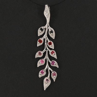 Sterling Vine Pendant with Spinel, Fire Opal and Tourmaline