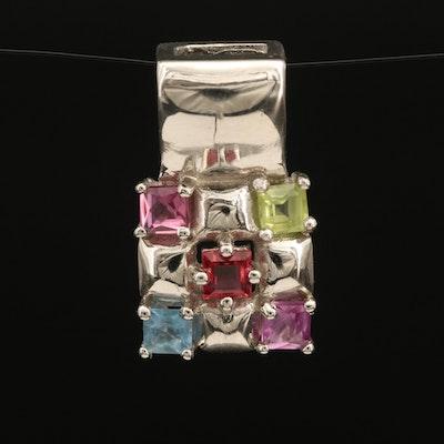 Sterling Gemstone Pendant with Sapphire, Peridot and Garnet