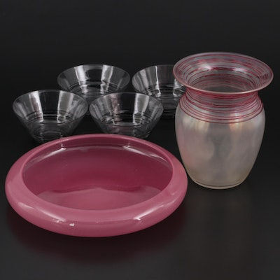 Handcrafted Threaded Art Glass Vase and Cups with Pink Opaline Glass Bowl