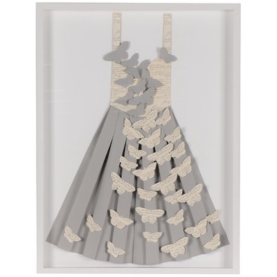Dimensional Paper Cutout Construction of Butterfly Dress