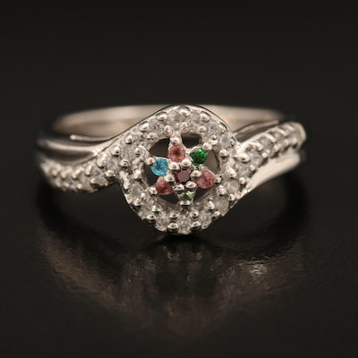Sterling Ring Including Tourmaline, Tsavorite and Apatite