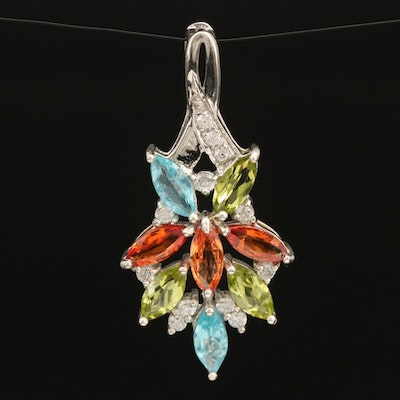 Sterling Gemstone Pendant with Peridot, Sapphire and Apatite