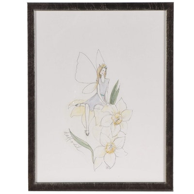"Restoration Hardware Flower Fairy Giclée ""Daffodil"""