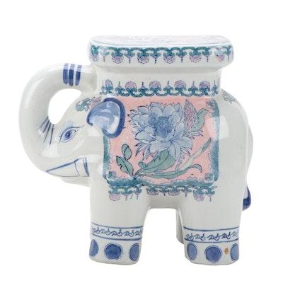 Chinese Inspired Hand-Decorated Elephant Form Ceramic Stool