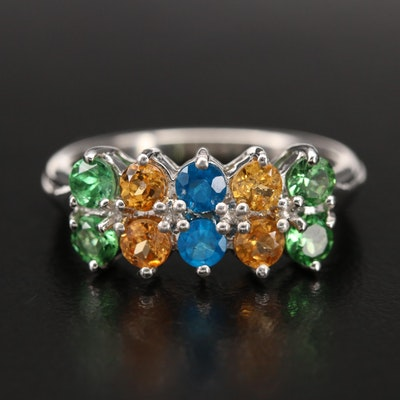 Sterling Tsavorite, Spessartine and Apatite Ring