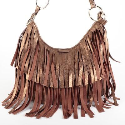Yves Saint Laurent Boheme Hobo Bag in Bronze Metallic Fringe Leather
