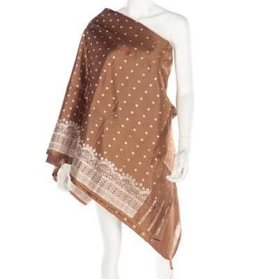 Bronze Brown and Gold Metallic Embroidered Saree